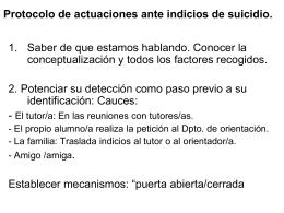 Protocolo de actuaciones ante indicios de suicidio.