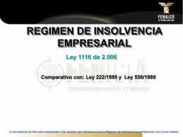 PROYECTO DE LEY REGIMEN DE INSOLVENCIA