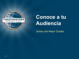 Conoce a tu Audiencia - Bienvenidos a Toastmasters