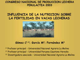 influencia de la nutricion sobre la fertilidad en vacas