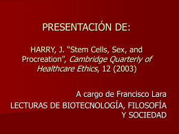 "RESUMEN-COMENTARIO DE: HARRY, J. ""Stem Cells, Sex, …"
