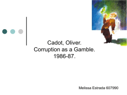 Cadot, Oliver. Corruption as a Gamble. 1986-87.