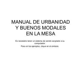 MANUAL DE URBANIDAD Y BUENOS MODALES EN LA …