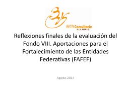 Reflexiones finales de las evaluaciones del FASP y del FAFEF
