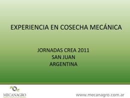 EXPERIENCIA EN COSECHA MECANICA