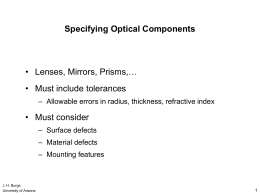 Tolerancing Optical Systems