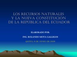 LOS RECURSOS NATURA,LEES Y LA NUEVA …