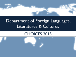 Department of Foreign Languages, Cultures & Literatures
