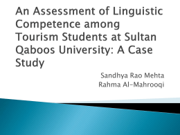 An Assessment of Linguistic Competence among Tourism