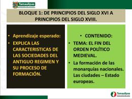 BLOQUE 1: DE PRINCIPIOS DEL SIGLO XVI A