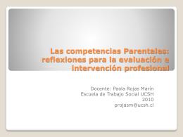Las competencias Parentales: reflexiones para la