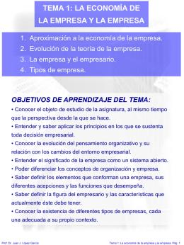 TEMA 1 LA ECONOMIA DE LA EMPRESA Y LA EMRPESA