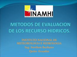 METODOS DE EVALUACION DE LOS RECURSO HIDRICOS.