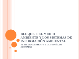 BLOQUE I: EL MEDIO AMBIENTE Y LOS SISTEMAS DE …