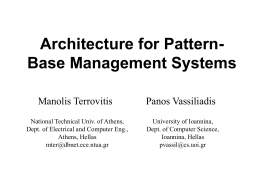 Architecture for Pattern-Base Management Systems