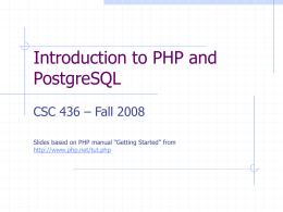 Introduction to PHP and MySQL