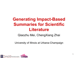 Generating Impact-Based Summaries for Scientific …