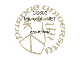 CS603 Microsoft .NET