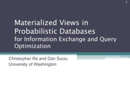 Materialized Views in Probabilistic Databases for