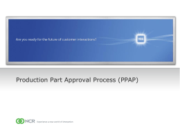 Production Part Approval Process (PPAP) Training