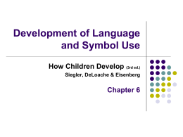 Siegler Chapter 6: Development of Language and Symbol …