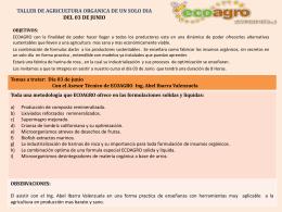 TALLER DE AGRICULTURA ORGANICA DE UN SOLO DIA …