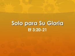 Solo para Su Gloria