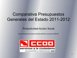 Comparativa Presupuestos Generales del Estado 2011-2012