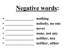 COMMON NEGATIVE WORDS