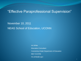 Paraprofessionals and Teachers: Collaboration in the …