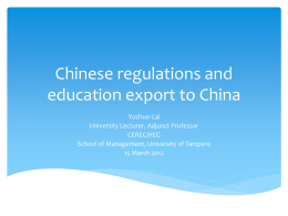 Chinese policies and legislations on education export to …