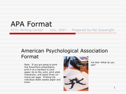 APA Format - Tri-County Technical College