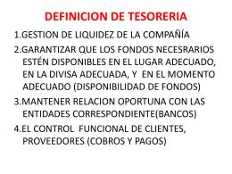 DEFINICION DE TESORERIA