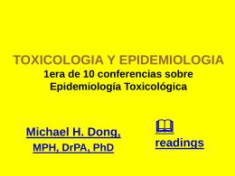 TOXICOLOGIA Y EPIDEMIOLOGIA 1era de 10 conferencias …