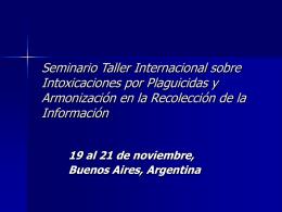 Seminario Taller Internacional sobre Intoxicaciones por
