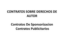 CONTRATOS SOBRE DERECHOS DE AUTOR Contratos …