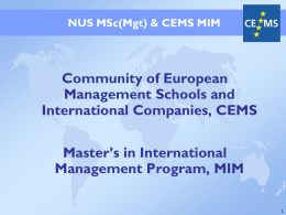 CEMS Student Board - NUS Business School
