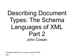 Describing Document Types: The Schema Languages of …