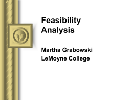Feasibility Analysis OH's, Whitten Ch. 9