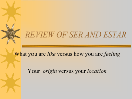 REVIEW OF SER AND ESTAR - Livingston Public Schools / …