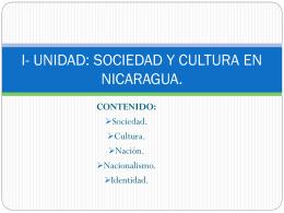 I- UNIDAD: SOCIEDAD Y CULTURA EN NICARAGUA.