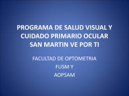 PROGRAMA DE SALUD VISUAL Y CUIDADO PRIMARIO …