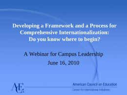 Commission on International Education Global Learning …