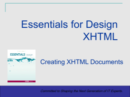 XHTML Essentials: Level 1 Chapter 1