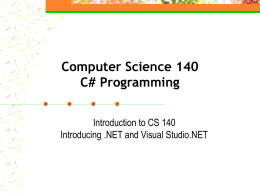 Computer Science 140 C# Programming