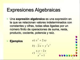 Expresiones Algebraicas - III-LIDI