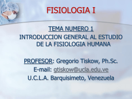 "FISIOLOGIA I - Universidad Centroccidental ""Lisandro"