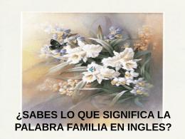 SABES LO QUE SIGNIFICA FAMILIA EN INGLES??..