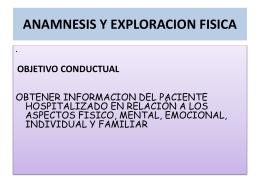VALORACION DE ENFERMERIA: ANAMNESIS Y …