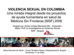 VIOLENCIA SEXUAL EN COLOMBIA Una mirada integral …